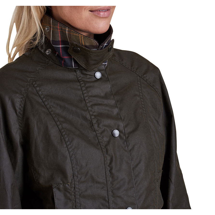 Ladies Beadnell Wax Jacket, Olive