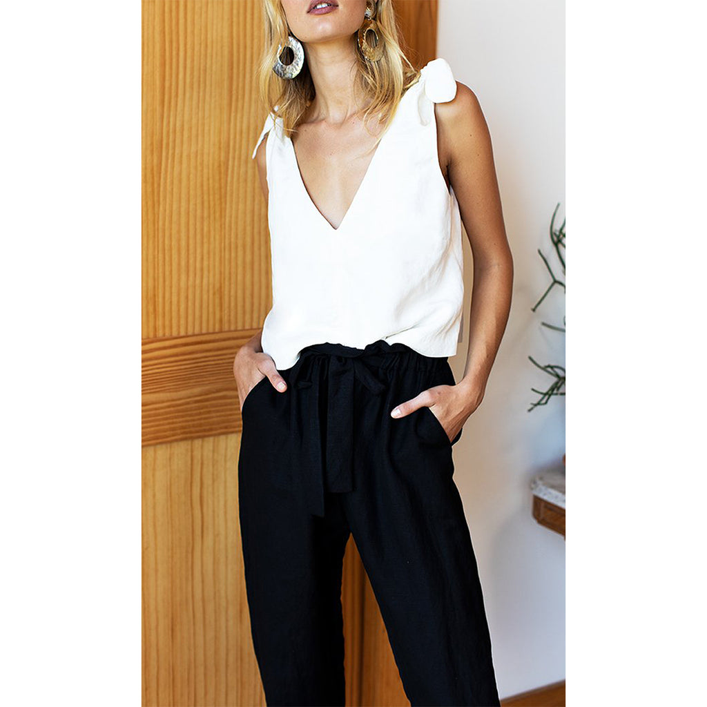 Black Linen Paris Pant