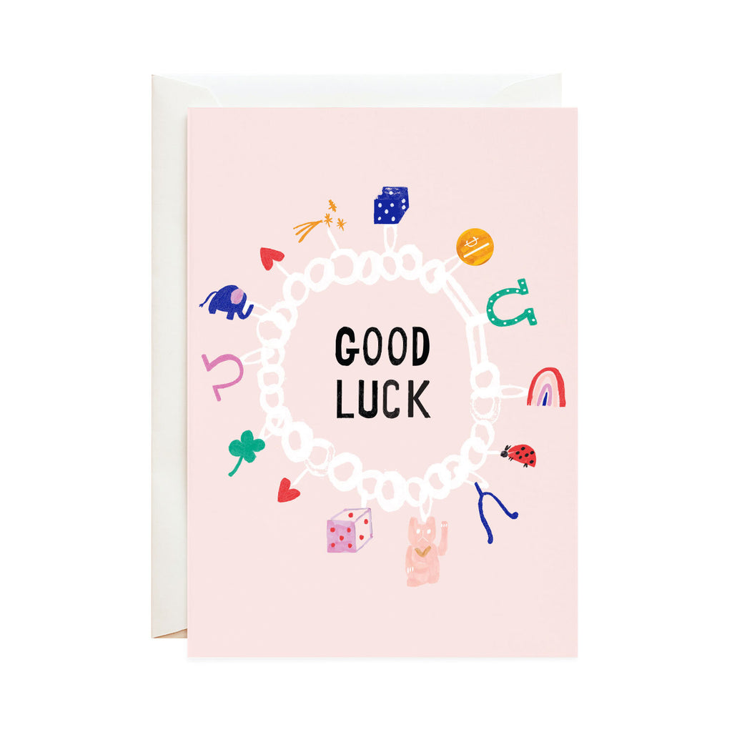 Lucky Cat & Clover - Good Luck Greeting Card