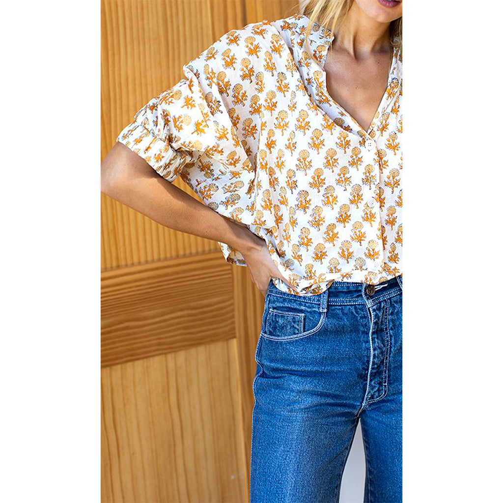 Little Marigolds Mandarin Collar Top