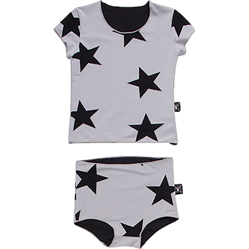 NUNUNU Grey Star Shirtini 2pc Swimsuit