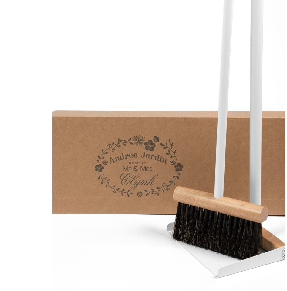"Mr. & Mrs. Clynk ""Complet"" Standing Broom & Dustpan, Grey"