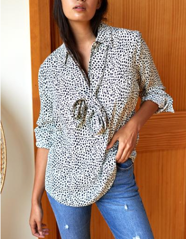 Ribbons Blouse, Black & White Cheetah