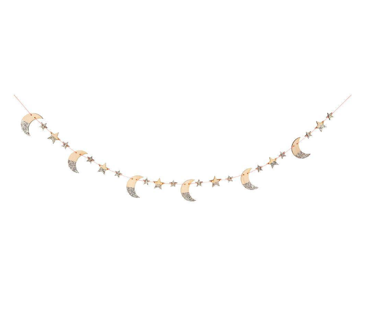 Wooden Moon And Stars Garland
