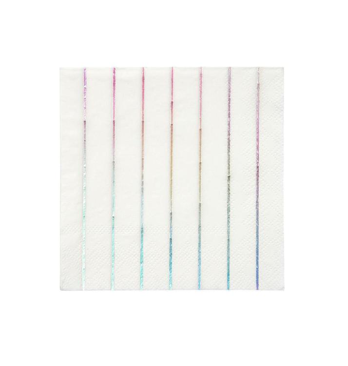 Silver Holographic Stripe Cocktail Napkin