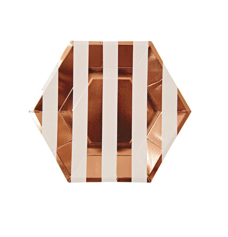 ROSE GOLD SMALL STRIPED PLATE