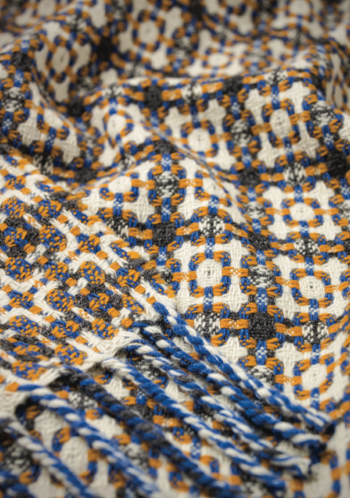 Vintage Throw Blanket, Yellow & Blue