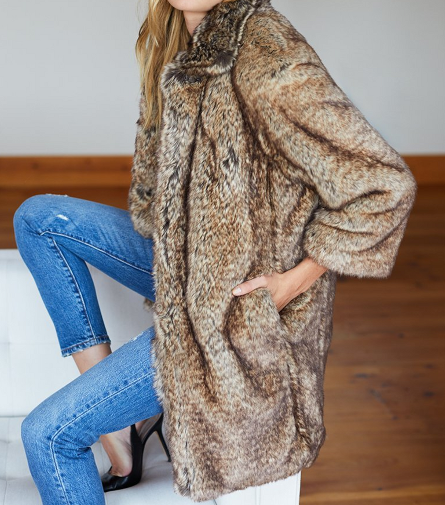 Emerson Fry Big Faux Fur Coat
