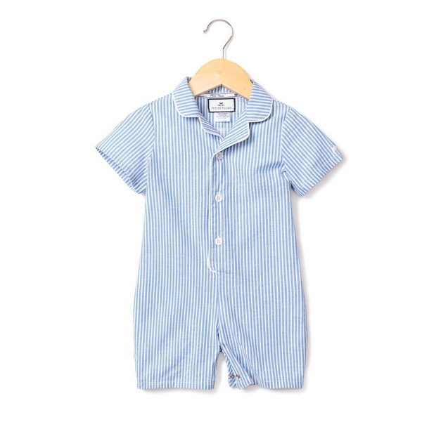 Blue Seersucker Summer Romper