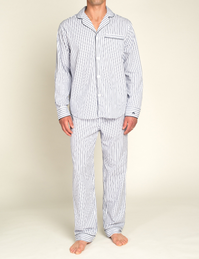 Men's Navy French Ticking Twill Pajamas