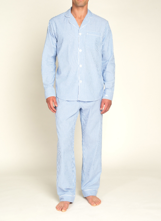 Men's French Blue Seersucker Pajama Set
