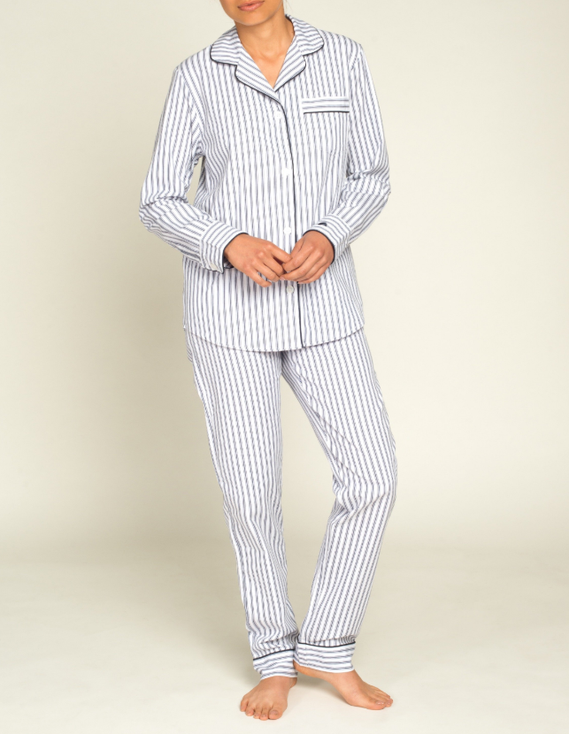 Women's Navy French Ticking Twill Pajamas