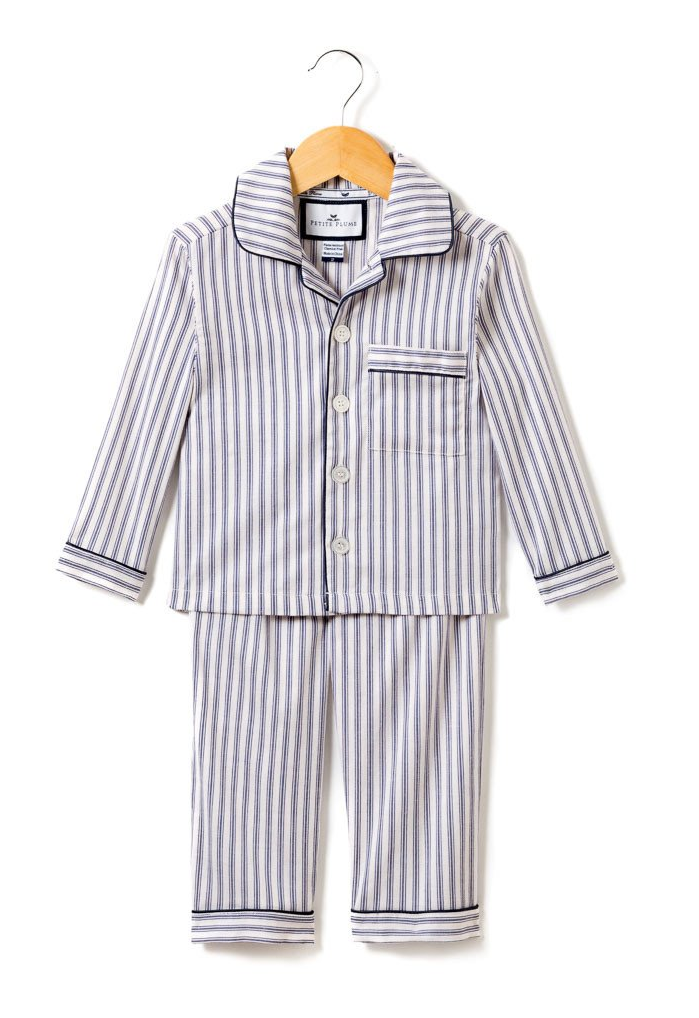 Kid's Navy French Ticking Pajama Set