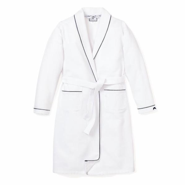White Flannel Robe with Navy Piping