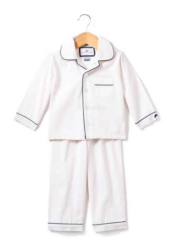 White Pajamas with Navy Piping