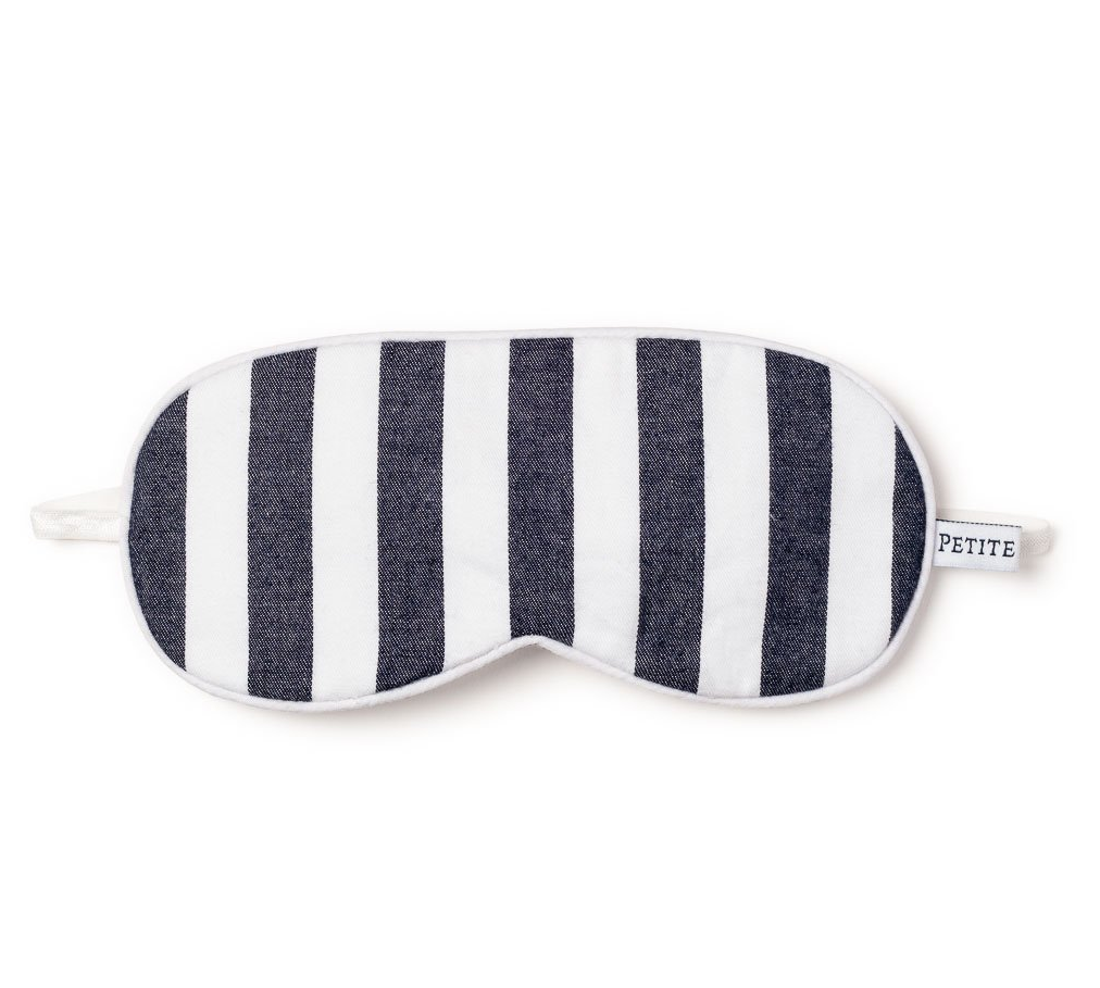 Navy Modern Striped Eye Mask