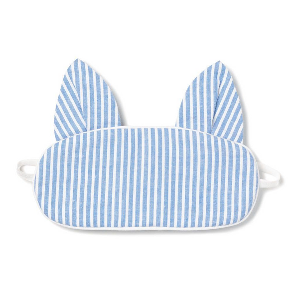 Blue Seersucker Kitty Eye Mask