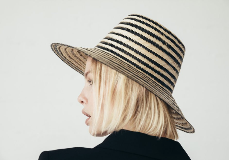 IRIS, Black & Natural Striped Straw