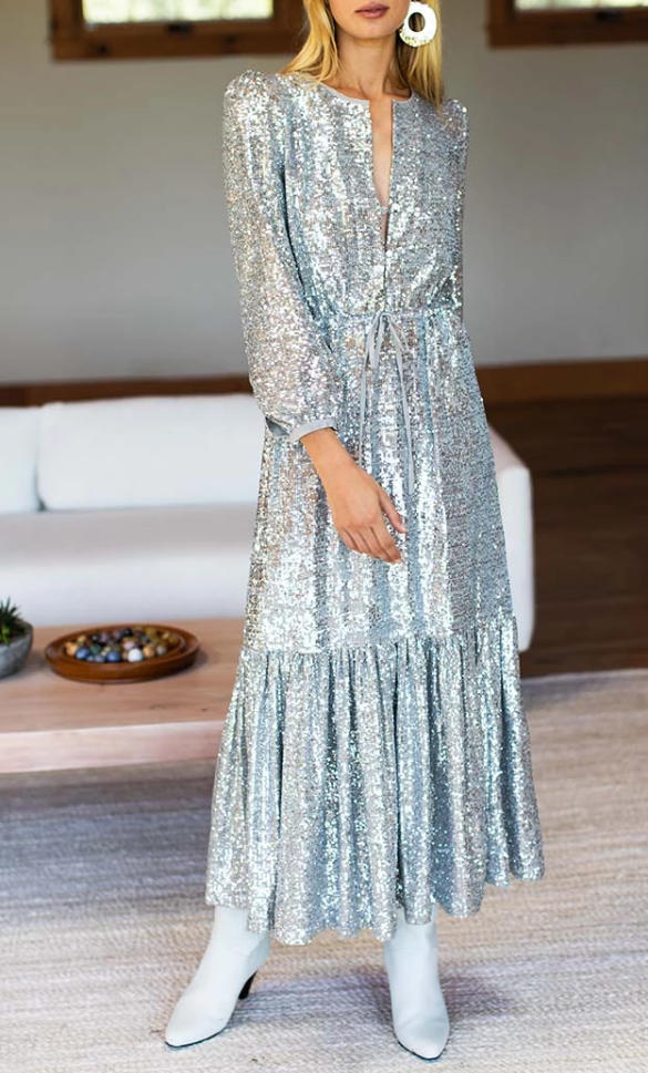 Frances Dress, SIlver Sequin