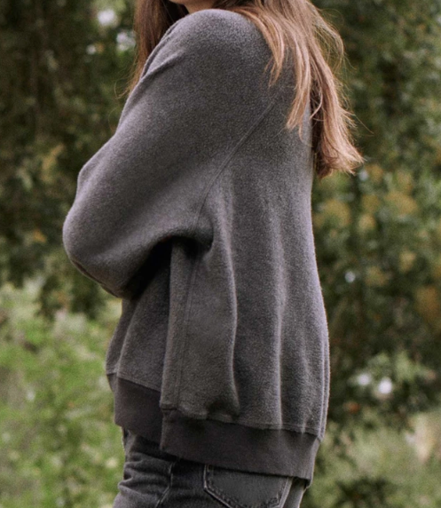 The Sherpa Slouch Sweatshirt, Washed Black