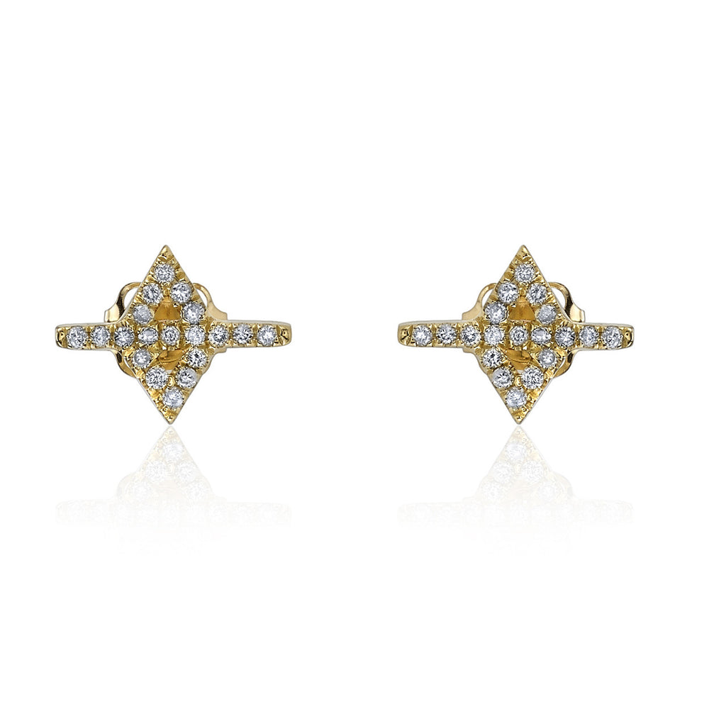 WHITE DIAMOND PAVE SERRATE EARRINGS