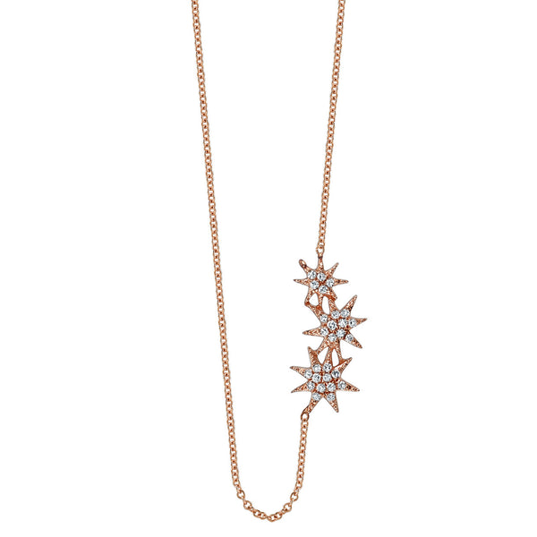 PAVE TRIPLE SHOOTING STAR NECKLACE