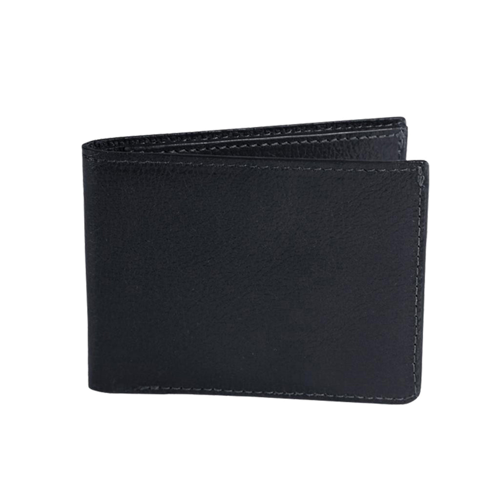 Two-Pocket Leather Bifold Wallet, Black