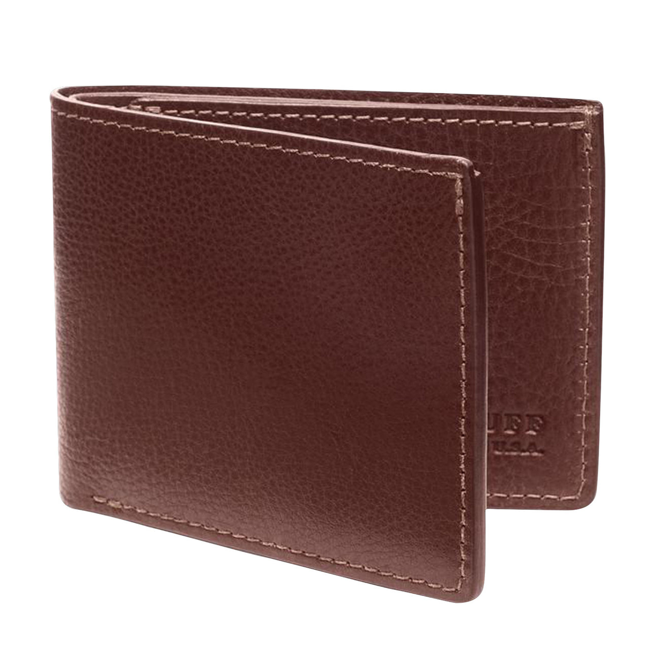 Two-Pocket Leather Bifold Wallet, Chestnut