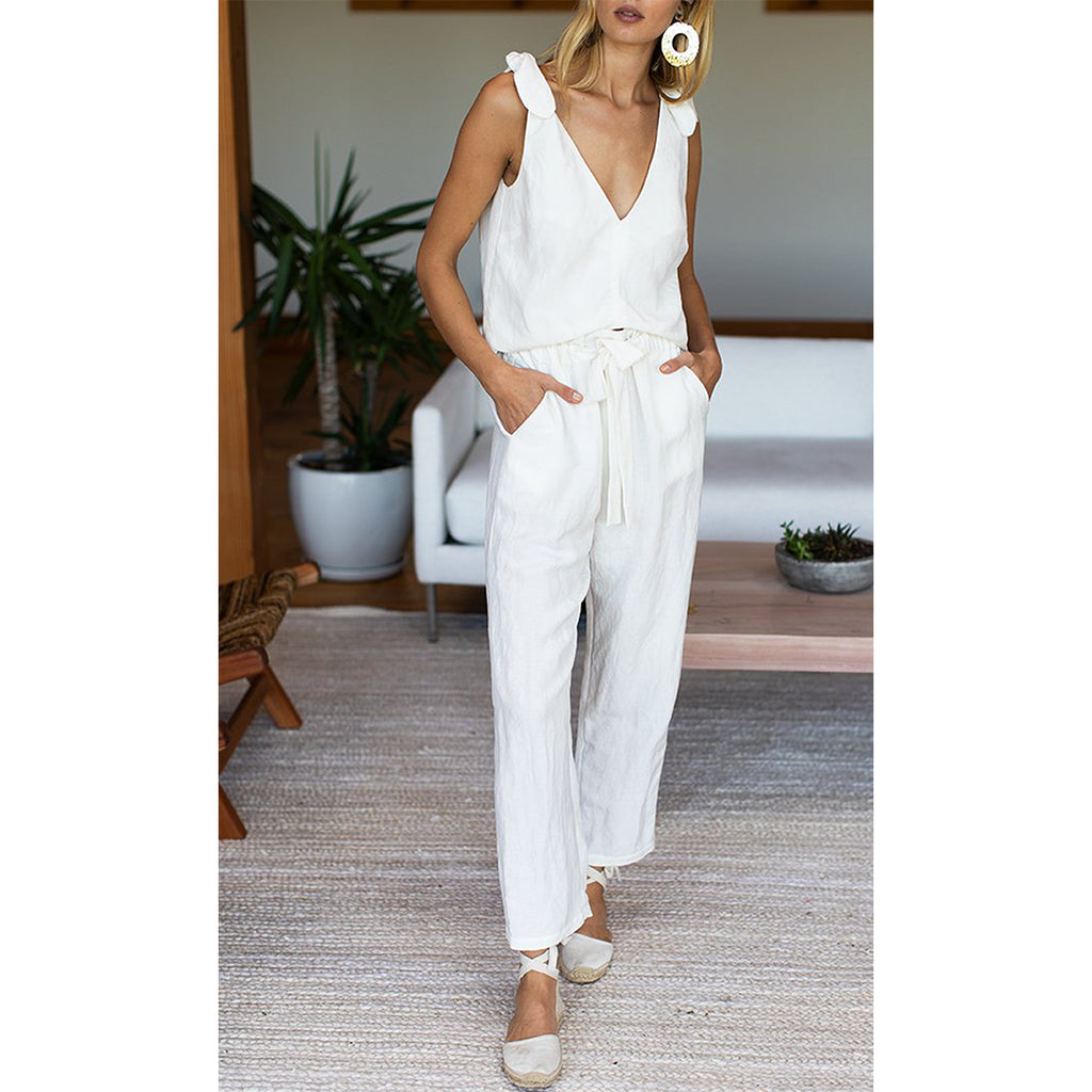White Linen Paris Pant