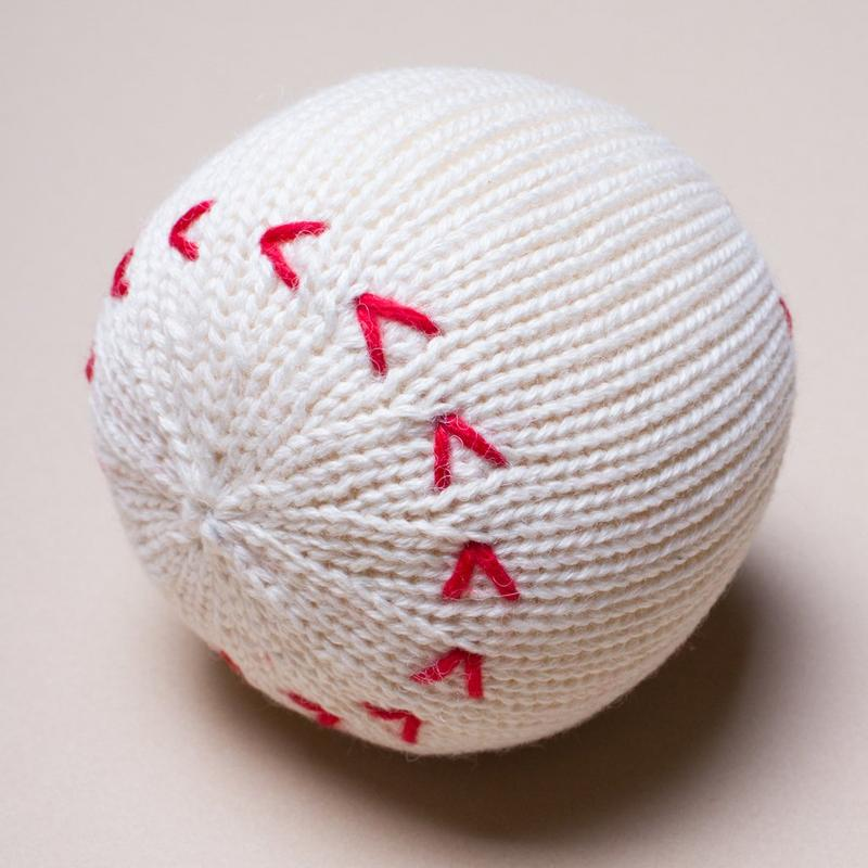 Baseball Organic Baby Rattle Toy