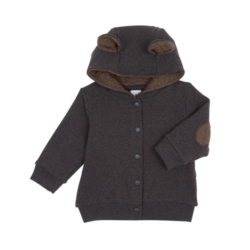 Baby Button Up Jacket with Bear Ears, Charcoal