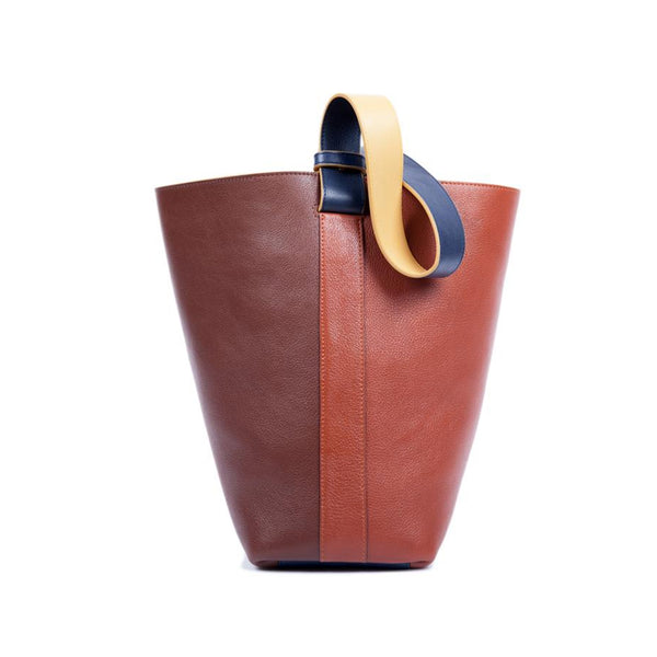 Leather Bucket Shoulder Bag, Chestnut & Saddle Tan