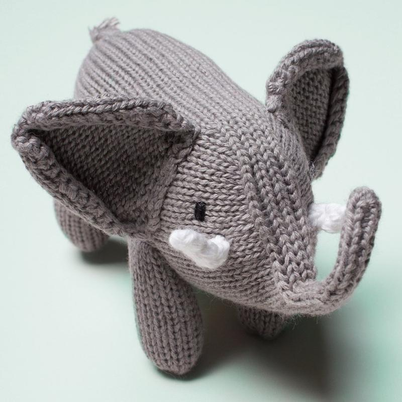 Elephant Organic Baby Rattle Toy