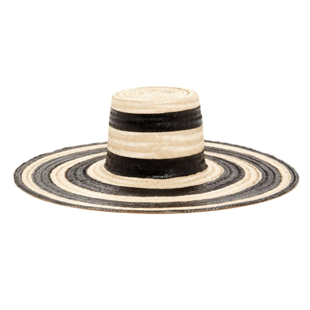 ELOISE, Black & Natural Striped Straw