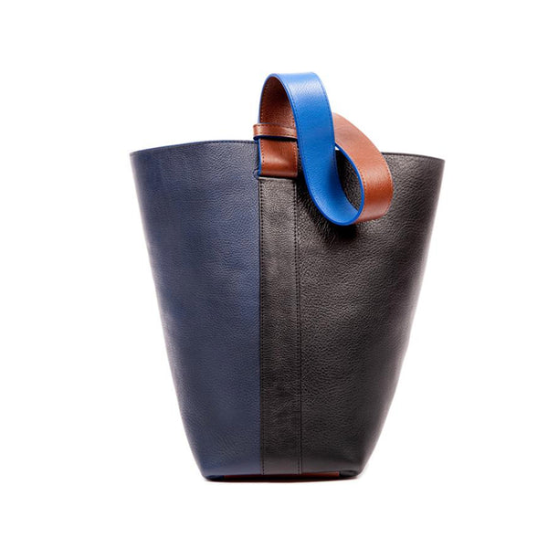 Leather Bucket Shoulder Bag, Black/ Indigo
