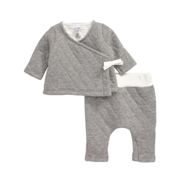 Quilted Baby Kimono Top & Pants, Grey