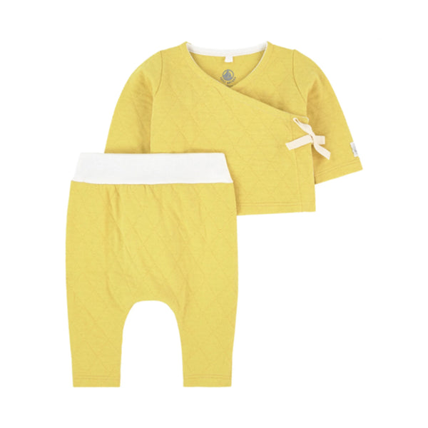 Quilted Baby Kimono Top & Pants, Yellow