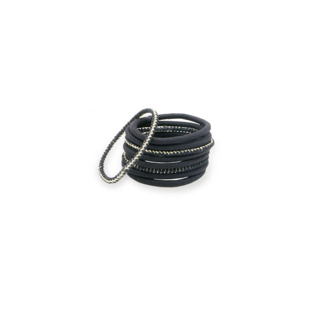 Thick Black Lurex Elastics (Set of 9)