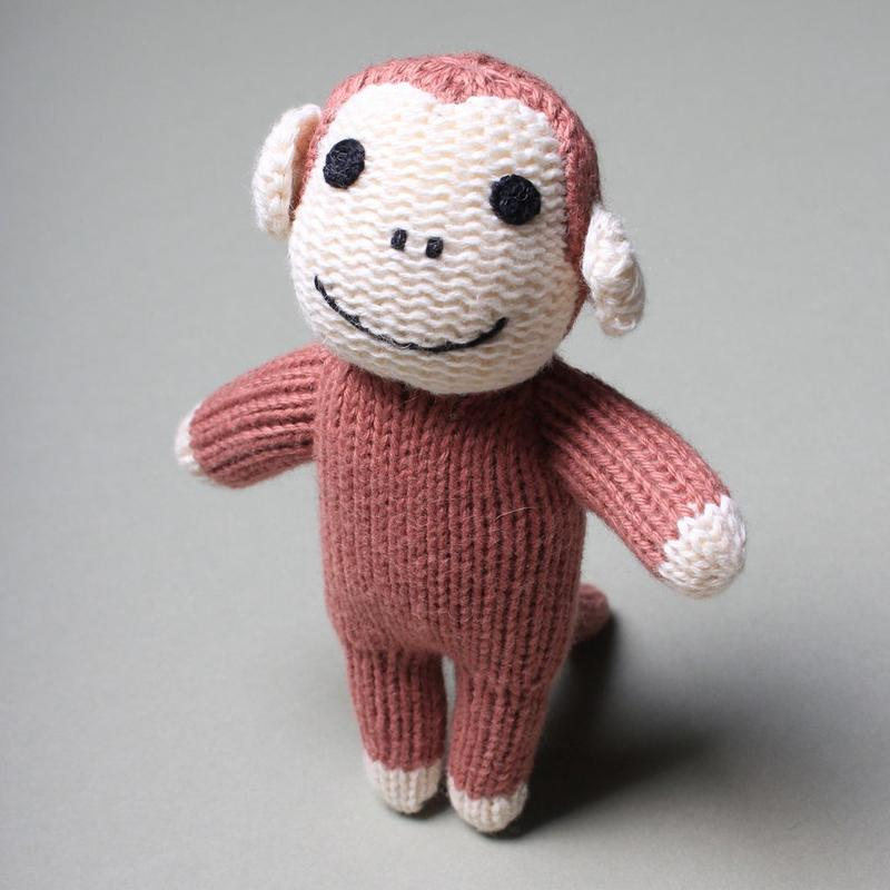 Monkey Organic Baby Rattle Toy