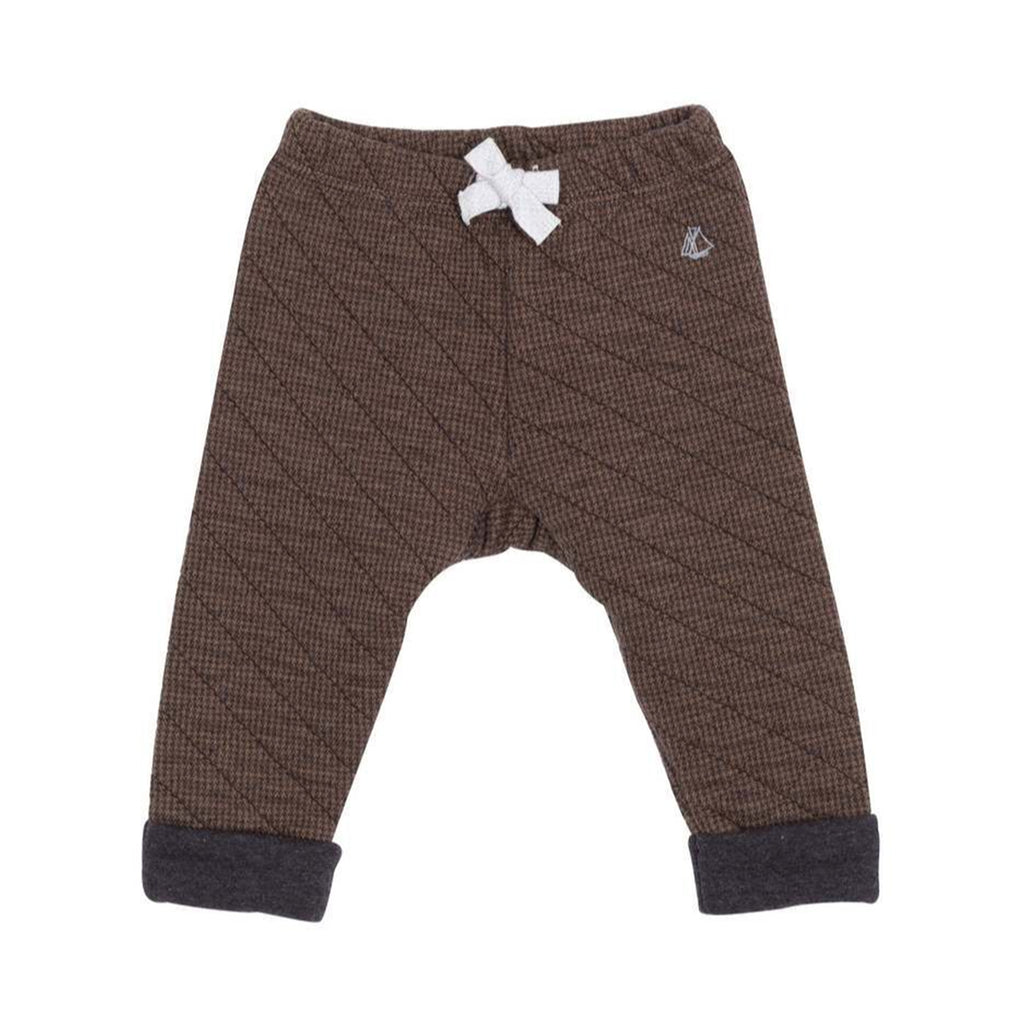 Baby Quilted Pants, Brown with Charcoal cuffs
