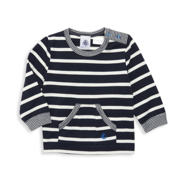 Baby Long-Sleeve Striped Tee w/ Bear Graphic on Back
