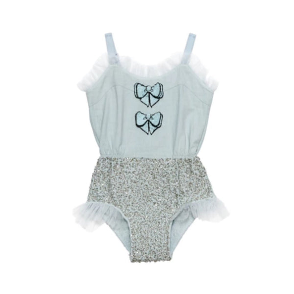 Take a Bow Onesie - Aqua Glaze