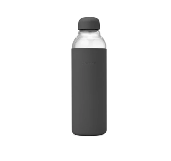 Porter Glass Water Bottle, Charcoal
