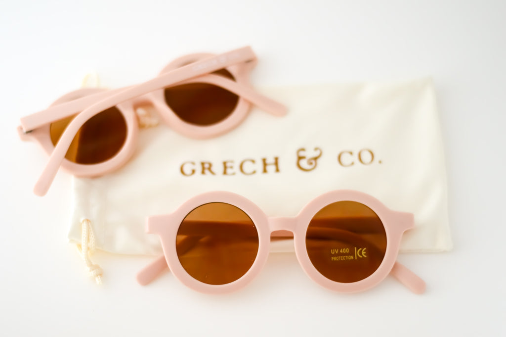 Lunettes de soleil enfant rose nude Grech & Co Shell - Sustainable Sunglasses