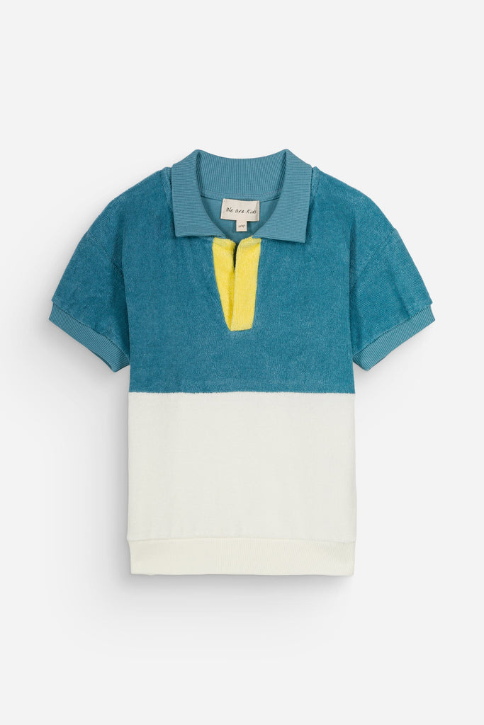 Polo Leonard Tender Blue Vanilla  We are Kids - Polo enfant éponge color block coton bio