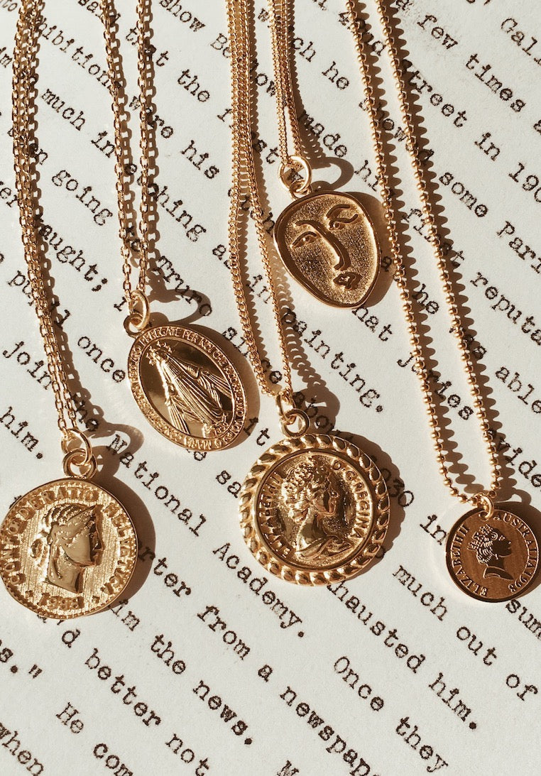 Ashley-Summer-Co-Gold-Coin-Necklace-Womens-Gold-Necklace-with-Pendant-Australia