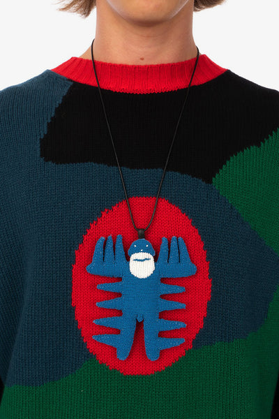 Walter van Beirendonck 'Spiky Walterman Necklace' and 'Demand Freedom Collard Knitted Crew'