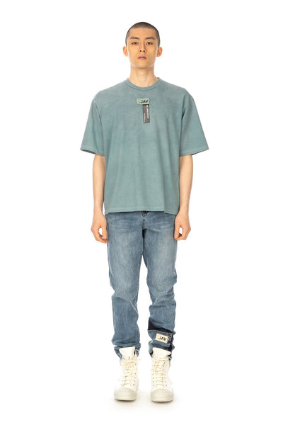 Val Kristopher 'Logo T-Shirt' and 'Ankle Pocket Denim', styled with Rick Owens DRKSHDW sneakers