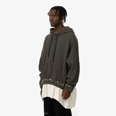 Asparagus 'T-Shirt Layered Hoodie Grey'