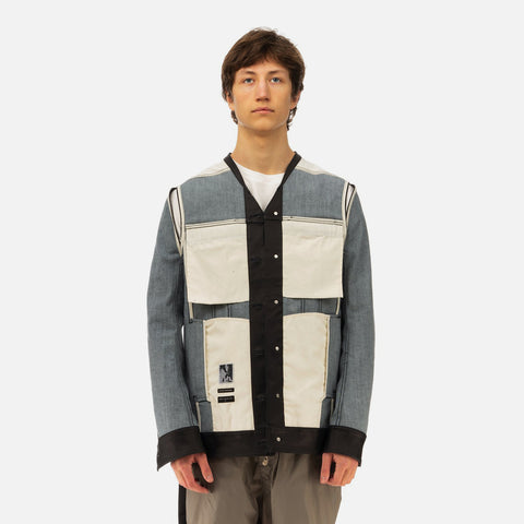 DRKSHDW by Rick Owens 'Jumbo Trucker Caped Denim Jacket' – Black